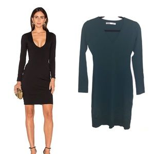 Susana Monaco V-neck Body Con Long Sleeve Dress